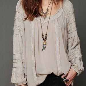Free People Beaded Beige Wavelengths Tunic